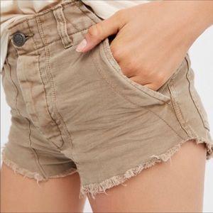 Free People Tan High Rise Distressed Shorts
